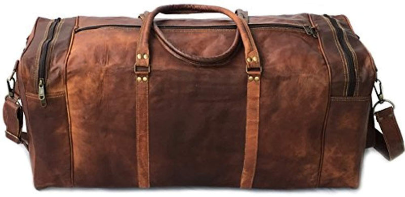 "30"" Inch Real Goat Vintage Leather Large Handmade Travel Luggage Bags in Square Big Large Brown bag Carry On (28 inch)"