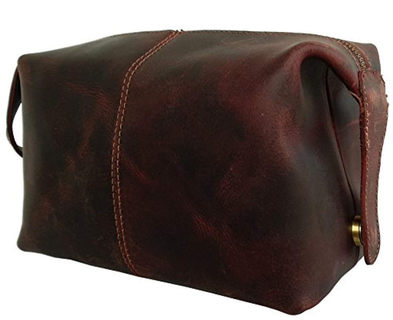 Handmade Buffalo Genuine Leather Toiletry Bag Dopp Kit Shaving and Grooming Kit for Travel ~ Gift for Men Women