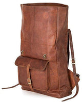 Roll Top Backpack Rucksack for Women Men Vintage Water Resistant Leather Brown Big xl