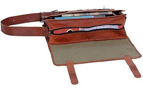 18 Inch Vintage Men's Brown Handmade Leather Briefcase Best Laptop Messenger Bag Satchel - cuerobags