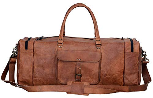 Cuero Bags 30 Inch Large Leather Duffel Travel Duffle Gym Sports Overnight Weekender Bag (Single Pocket)