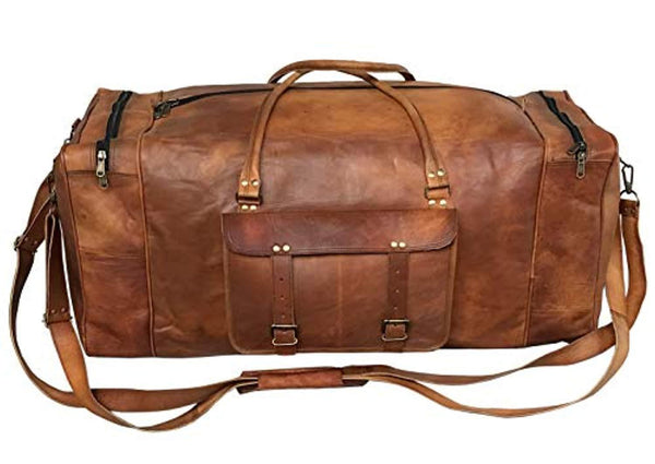 Large Leather 32 Inch Luggage Duffel Weekender Travel Overnight Carry One Duffel Bag For Men