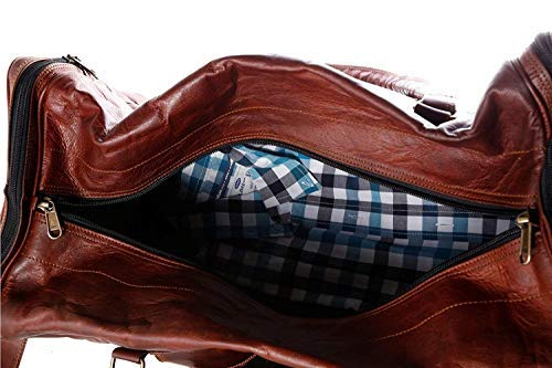 Cuero Bags 30 Inch Large Leather Duffel Travel Duffle Gym Sports Overnight Weekender Bag (Single Pocket) - cuerobags