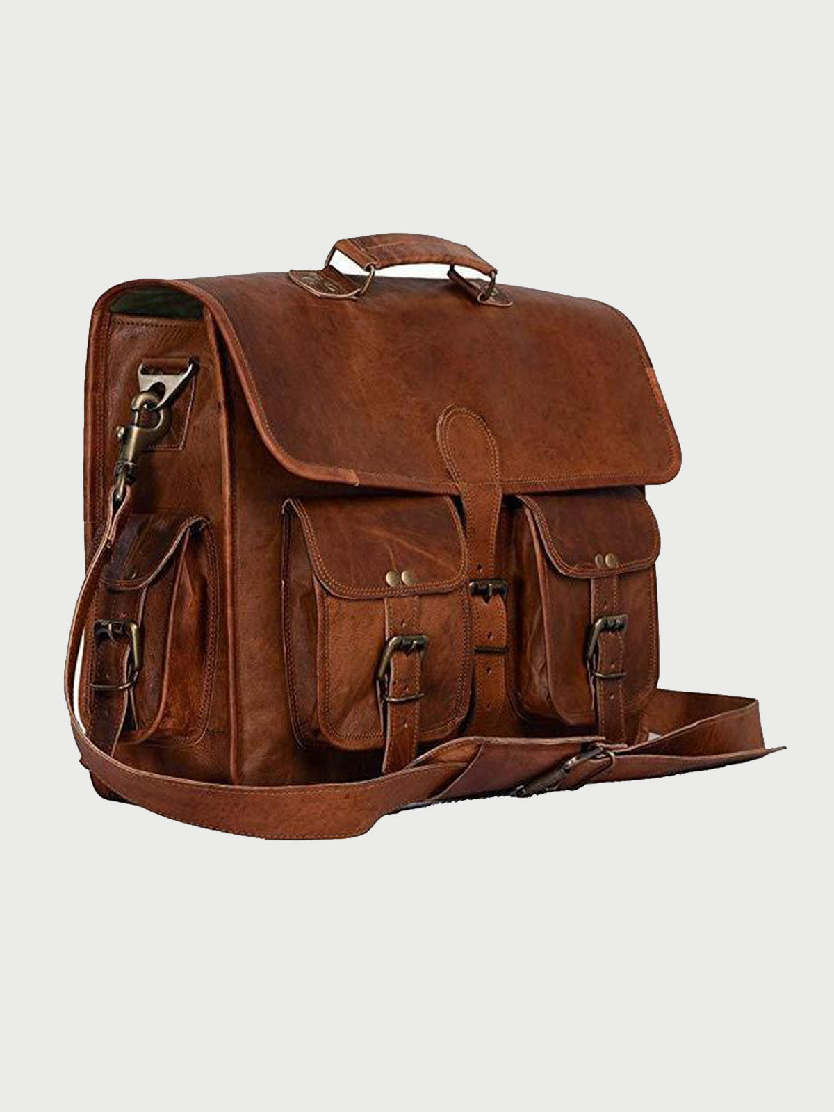 "HANDMADE BROWN VINTAGE LEATHER BRIEFCASE BAG ( 15"",16"",18"" )"