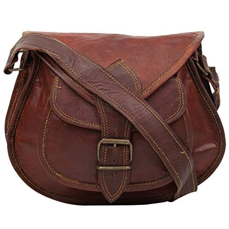 cuero 14 Inch Leather Crossbody Satchel Ladies Purse Women Shoulder Bag Tote Travel Purse Genuine Leather (brown)
