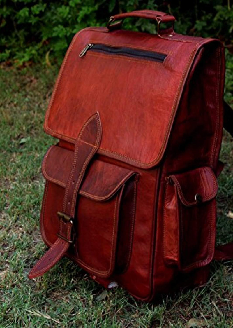 16 Inch Genuine Leather Retro Rucksack Backpack Bag , Picnic Bag Travel