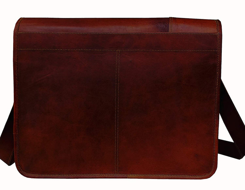 Leather Laptop Messenger Bag Vintage Briefcase Satchel For Men And Women- 16 Inch - cuerobags
