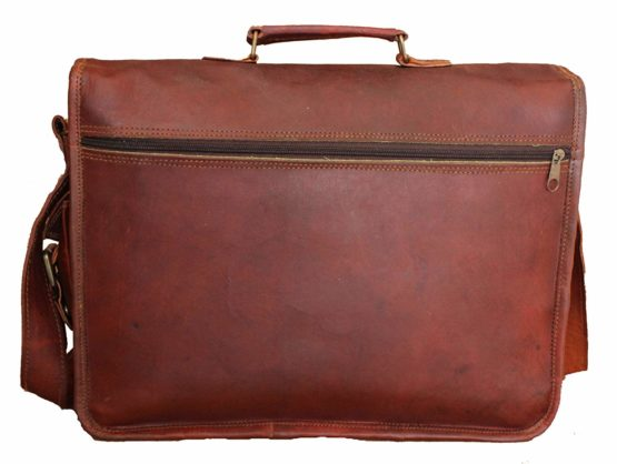 Unisex Real Leather Messenger Bag for Laptop Briefcase Satchel - cuerobags