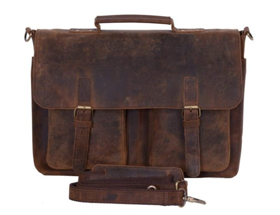 Cuero 15 Inch Retro Buffalo Hunter Leather Laptop Messenger Bag Office Briefcase College Bag - cuerobags