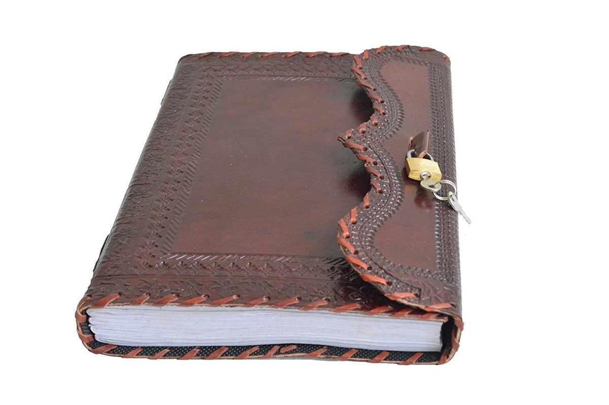 Genuine Leather Journal Vintage Antique Style Organizer Blank Notebook Secret Diary Daily Journal with Actual Lock and Key for Girls, Poets, Writer and Artists Nice Gift for Teenagers - cuerobags
