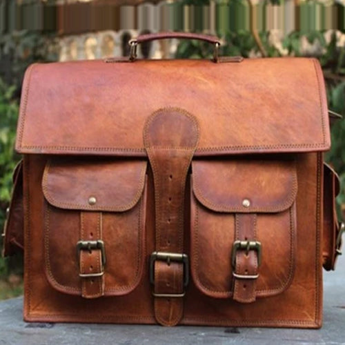 CUERO 18″ RETRO CUERO HUNTER LEATHER LAPTOP MESSENGER BAG OFFICE BRIEFCASE COLLEGE BAG LEATHER BAG FOR MEN & WOMEN - cuerobags