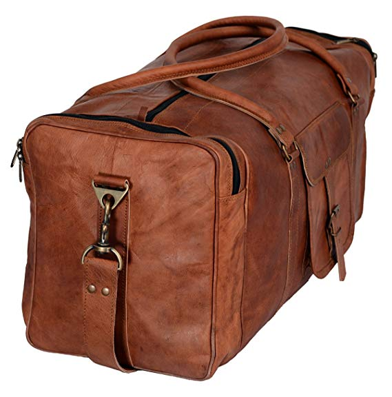 Leather Duffel Bag Large 24 Inch Square Duffel Travel Gym Sports Overnight Weekender Leather Bag for Men and Women - cuerobags