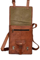 11 Inch Sturdy Leather Ipad Messenger Satchel Bag - cuerobags