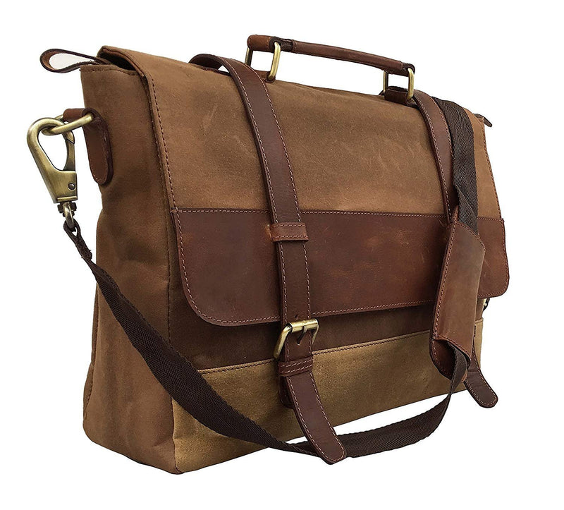 18 Inch Mens Messenger Bag Vintage Waxed Canvas Genuine Leather Large Satchel Shoulder Bag Canvas Leather Computer Laptop Bag Tablet Messenger Bag - cuerobags