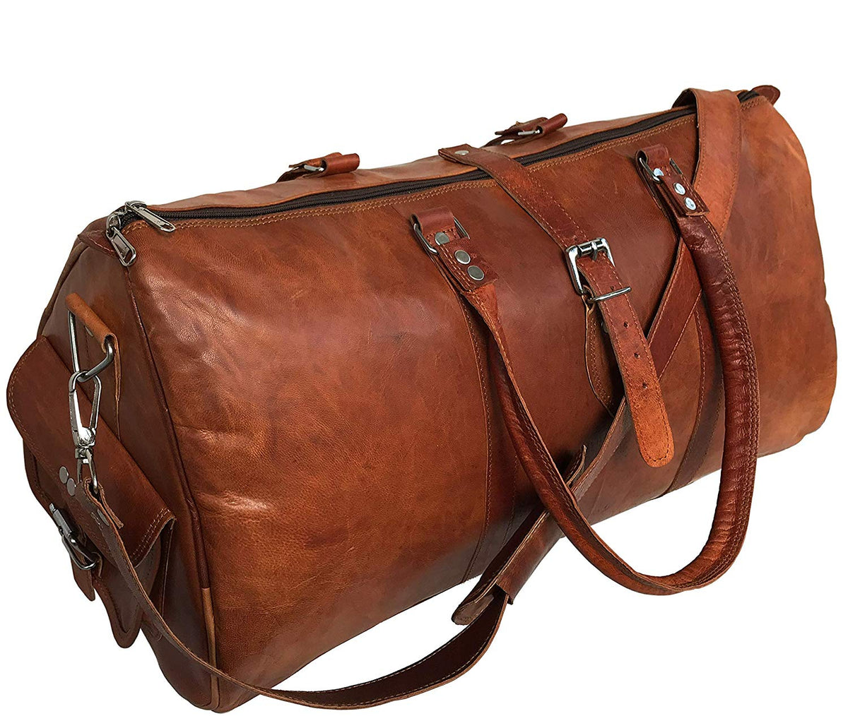 """24/"""" New Large Capacity Men Luggage Leather Travel Shoulder Duffle Gym Bags Tote"""