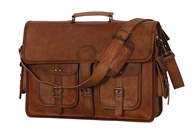 Leather Briefcase Laptop bag 18 inch Handmade Messenger Bags Best Satchel by Cuero Bags - cuerobags