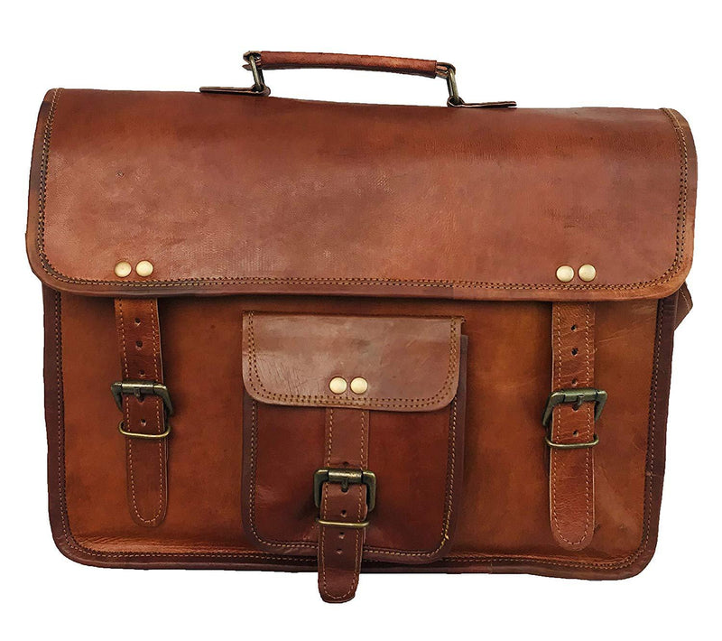 14 Inch Vintage Handmade Leather Messenger Bag for Laptop Briefcase Best Computer Satchel School distressed Bag - cuerobags