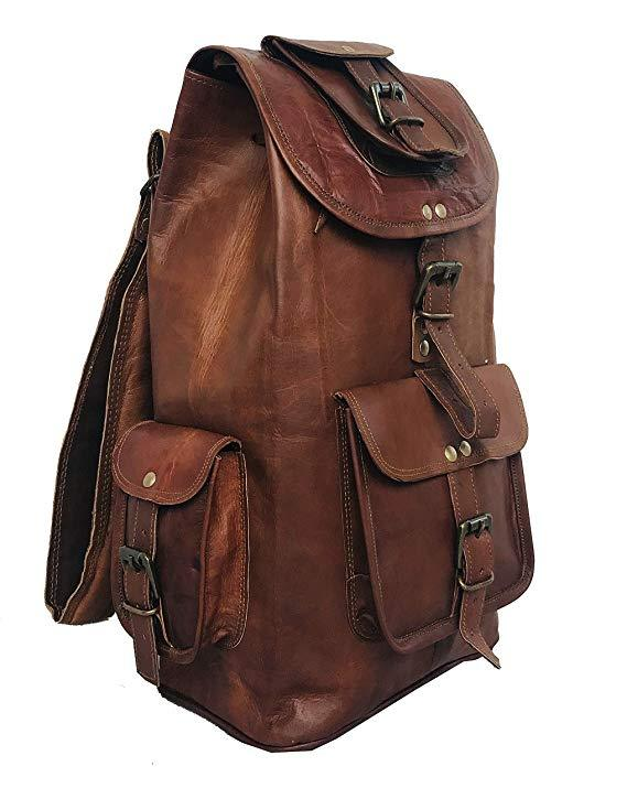 24'' Genuine Leather Vintage Handmade Casual College Day-Pack Cross Body Messenger Laptop Backpack Travel Rucksack - cuerobags