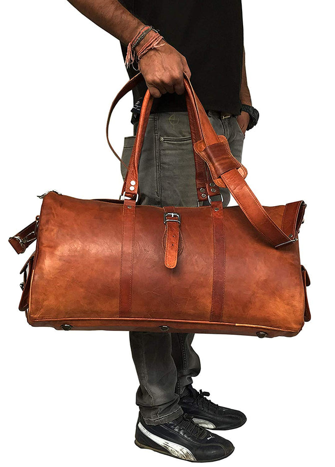 Leather Travel Duffle Bag Gym Overnight Weekend Luggage Carry on Airplane Underseat Bag