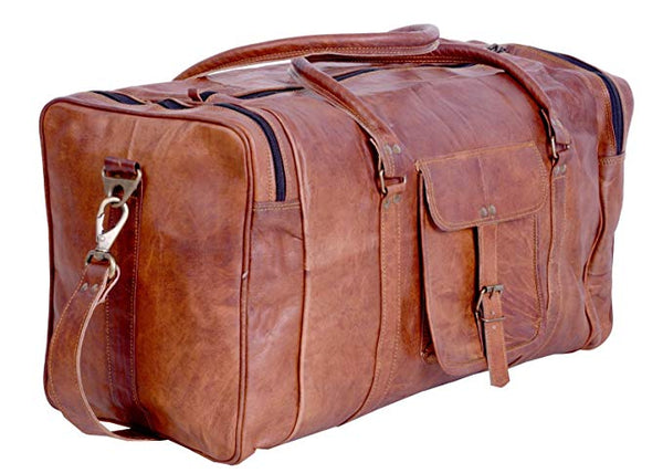 21 Inch Vintage Leather Duffel Travel Gym Sports Overnight Weekend Duffel Bag - cuerobags