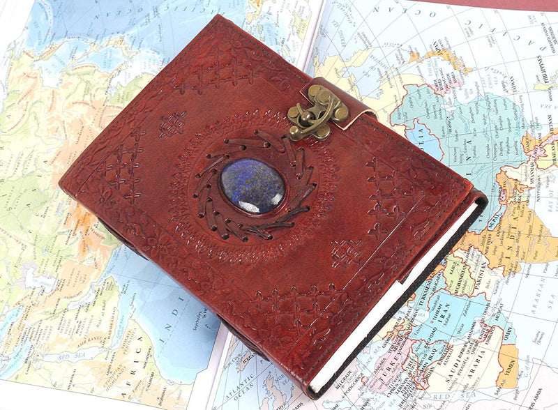 Leather journal with semi-precious stone & buckle closure leather diary gift for him her - cuerobags