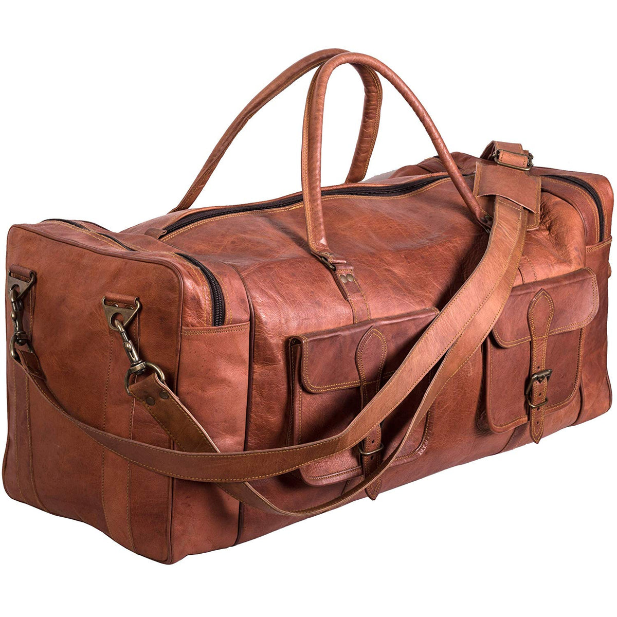 "30/""Men/'s Genuine Leather luggage gym weekend overnight duffle large vintage bag"