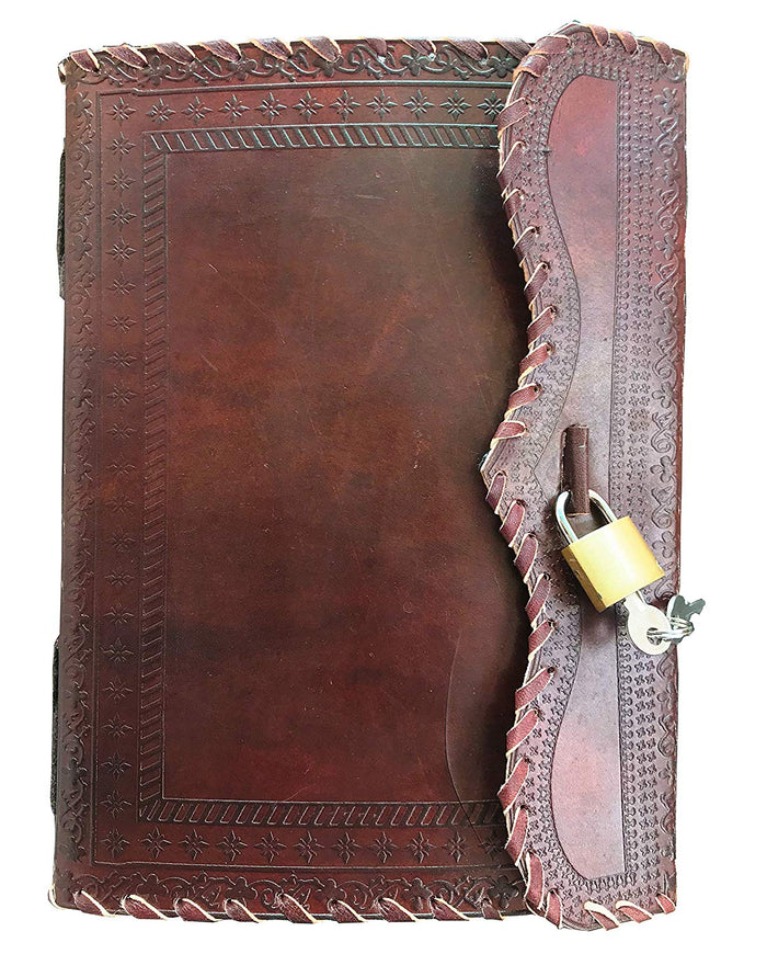 Genuine Leather Journal Vintage Antique Style Organizer Blank Notebook Secret Diary Daily Journal with Actual Lock and Key for Girls, Poets, Writer and Artists Nice Gift for Teenagers