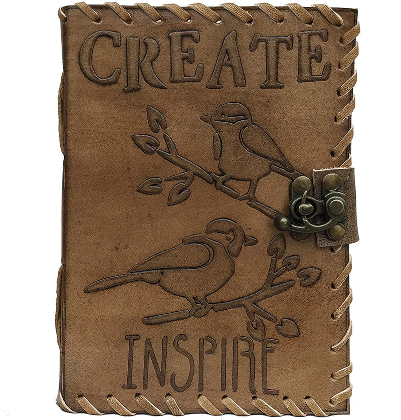 Leather Inspire Bird Embossed Antique Journal