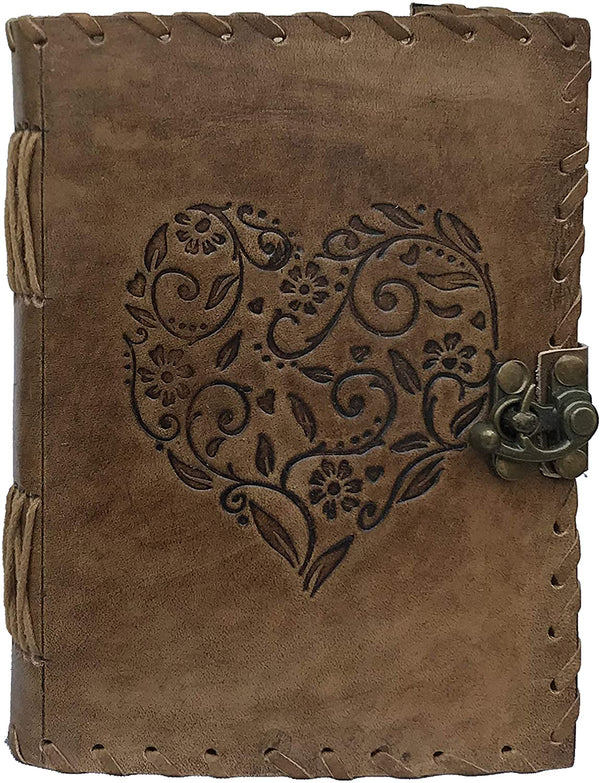 Leather Heart Embossed Antique Journal