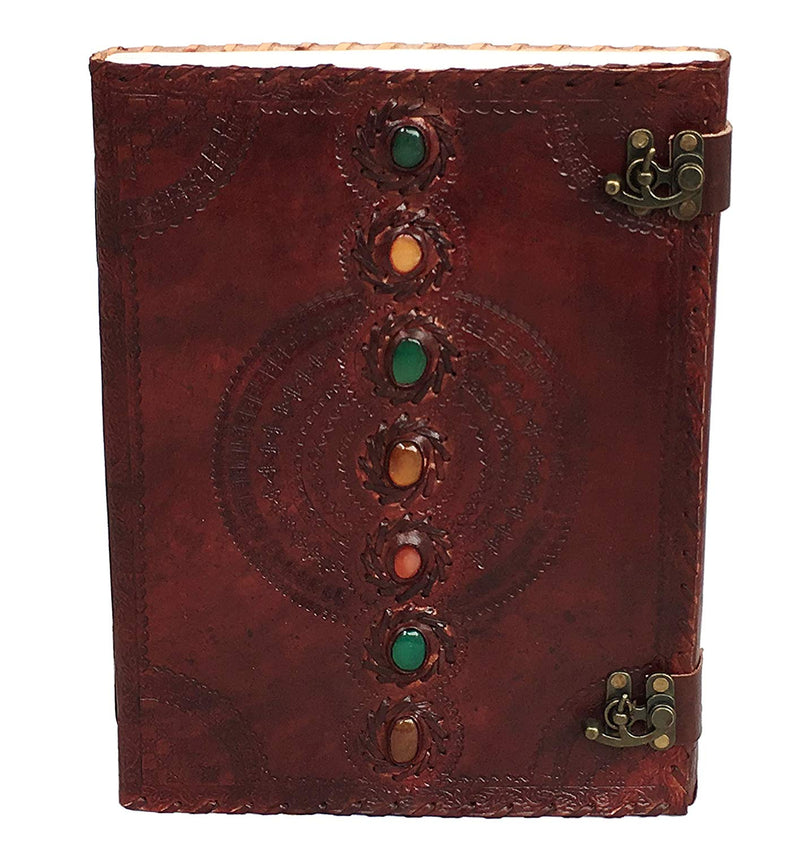 Leather Journal Book Seven Chakra Medieval Stone Embossed Handmade Book of Shadows Notebook Office Diary College Book Poetry Book Sketch Book 10 x 13 inches - cuerobags