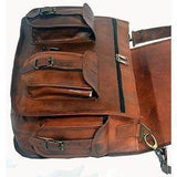 HANDMADE VINTAGE BROWN LEATHER BRIEFCASE 15"