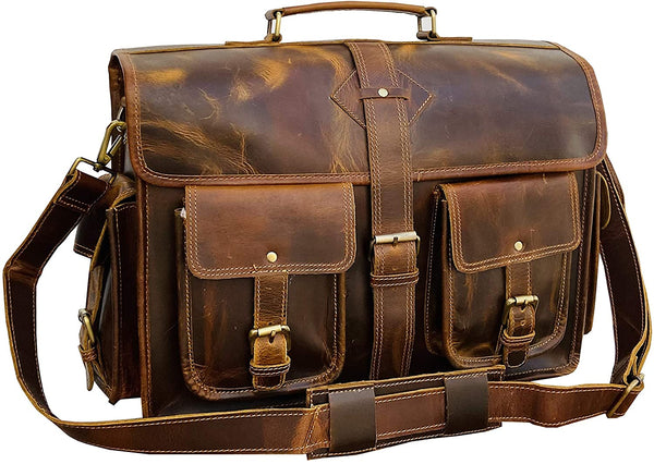 18 Inch Vintage Handmade Leather Messenger Bag