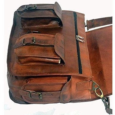 Brown Leather Two Pocket Messenger Bag - cuerobags