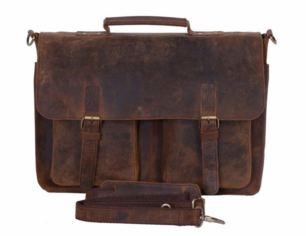 15 Inch Men Vintage Leather Laptop Messenger Bag - cuerobags