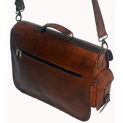 Brown Leather Two Pocket Messenger Bag