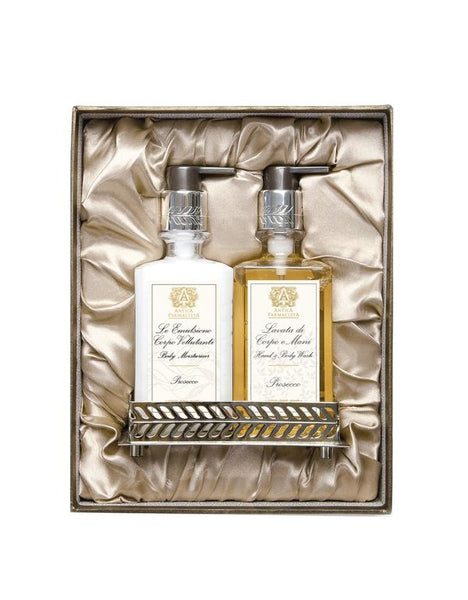Prosecco Bath & Body Gift Set with Nickel Tray