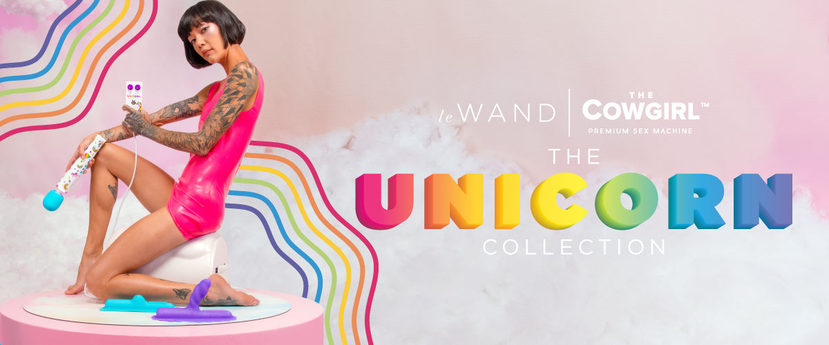 The Unicorn Premium Sex Machine and Le Wand Unicorn Rechargeable Vibrating Wand Set Bundle comes with a Le Wand Lube, and a Le Wand Toy Cleaner