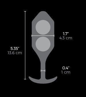Measurements of the b-vibe Vibrating Snug Plug XL available on The Cowgirl Shop