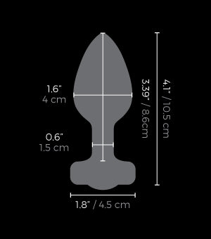Measurements of the b-vibe Vibrating Jewel Plug - M/L available on The Cowgirl Shop