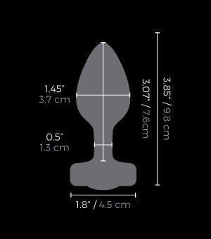 Measurements of the b-vibe Vibrating Jewel Plug - S/M available on The Cowgirl Shop