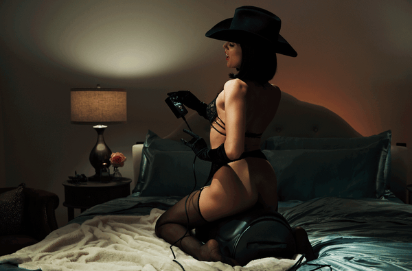 The Cowgirl Premium Sex Machine being used