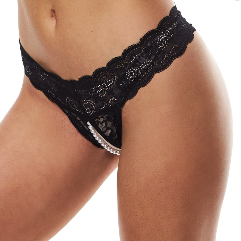 Black Lace Crotchless Panty with Pearl G-String at The Cowgirl Shop
