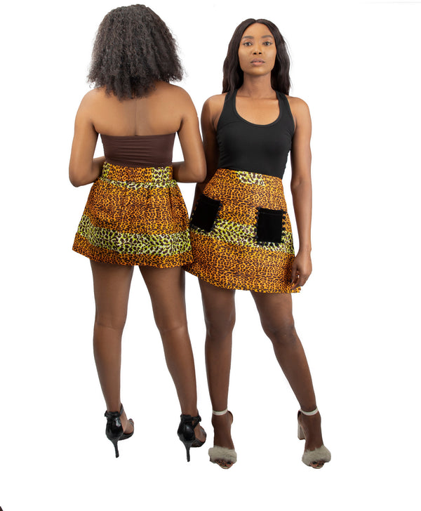 Ankara Mini Skirt With Velvet Pocket