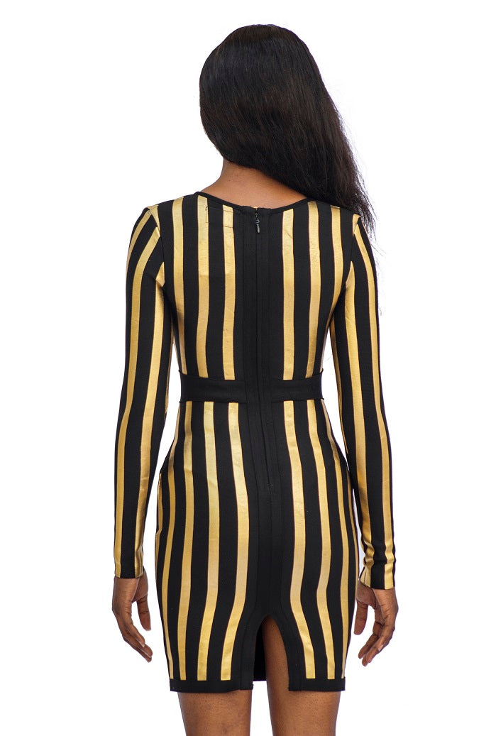 Gold & Black Bodycon Dress
