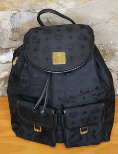 MCM Black Canvas Backpack
