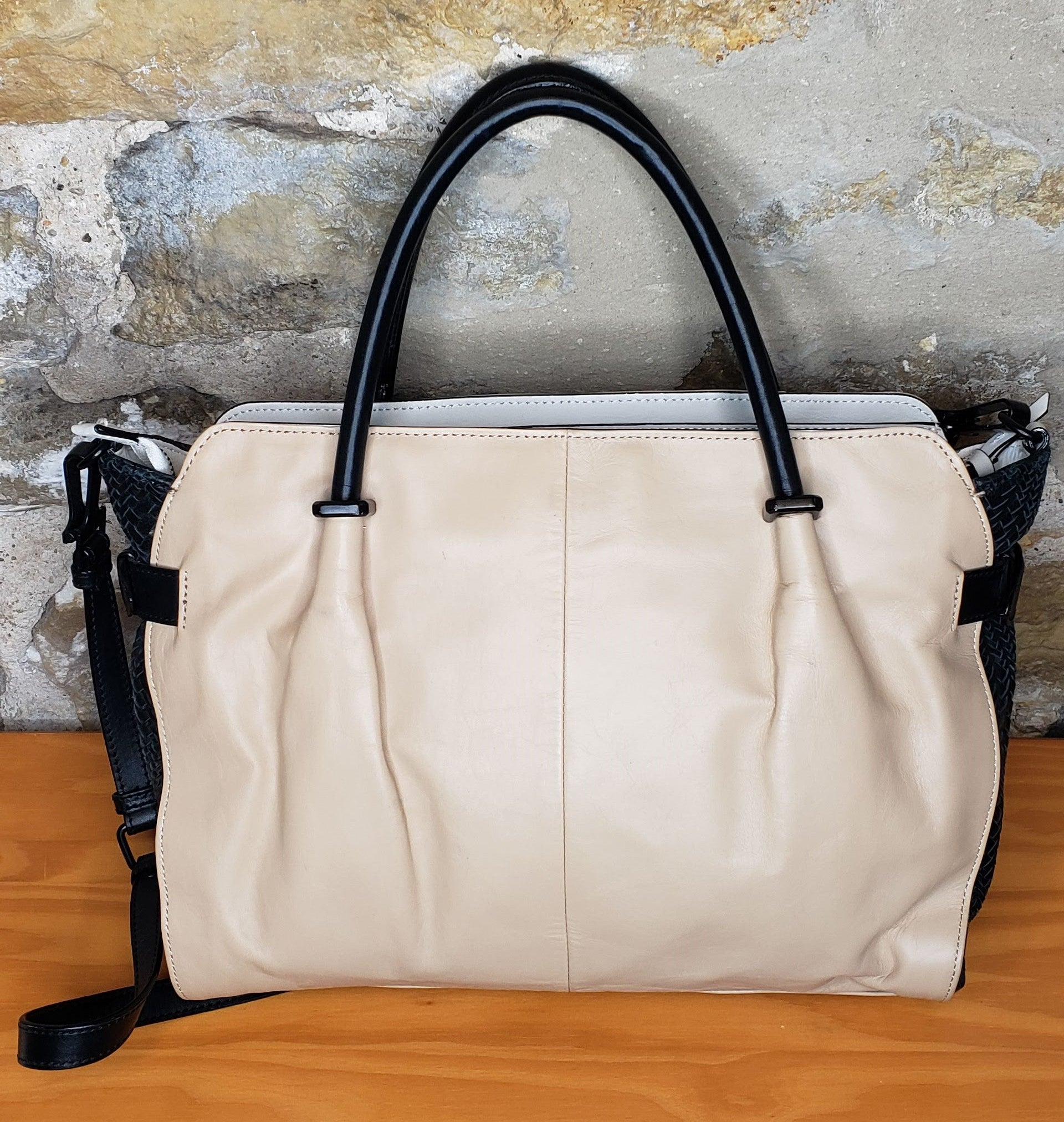 Elliot Lucca Cream & Black  Satchel