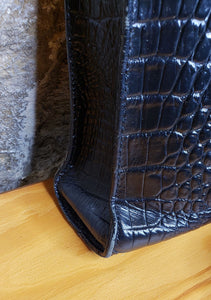 Brahmin Black Leather Crocodile Crossbody
