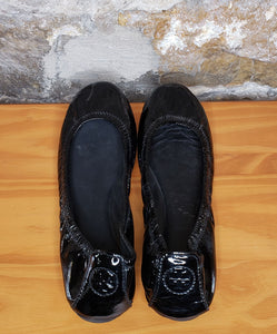 Tory Burch Black Patent Leather Eddie Flats Sz 7
