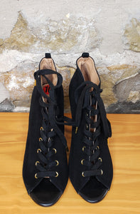 Joie Black Suede Peep Toe Booties Sz 10
