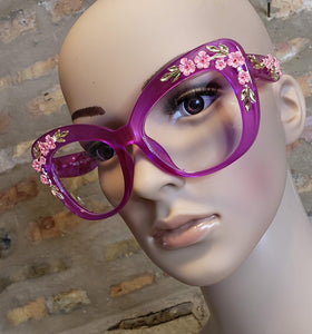 Large Floral Glasses (Purple)